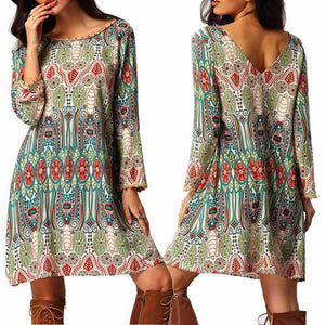 BOHO Women's Floral Back V Long Sleeve Tunic Kaftan Loose Beach Party Mini Dress IGN - The Rogue's Clothes