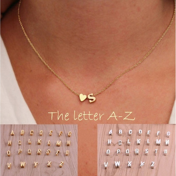 26 Letters Long Sweater Chain Choker Necklaces Tiny Love Heart Pendants for Women Collier Lovers Gift Color: Silver, Gold - The Rogue's Clothes