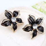 Fashion Women Rhinestone Flower Statement Pendant Necklace Earrings Jewelry Set