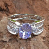Noble Women Synthetic Sapphire Gemstones Silver Ring