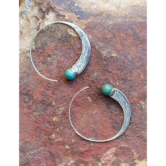 Vintage Jewelry NEW Silver Turquoise Capricorn Hoop Earrings Stud Ear Wedding Engagement Gifts