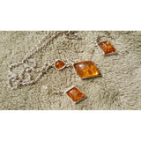 Amber Dangle Earrings & Rhombus Pendant Choker Necklace Jewelry Sets For Women - The Rogue's Clothes