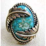 Large Silver Gemstone Turquoise Ring Bride Wedding Engagement Wing Rings Retro Fine Jewelry Size 5 6