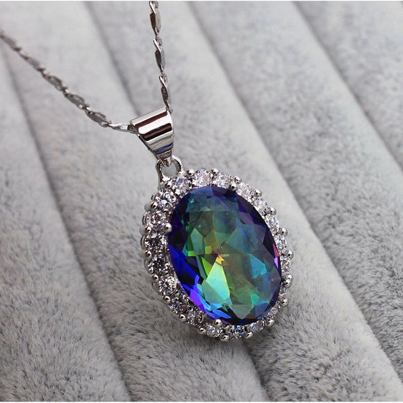 18K White Gold Filled - Big 13*15MM Oval Blue MYSTICAL Rainbow Topaz Party Lady Pendant Necklace - The Rogue's Clothes