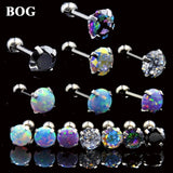 1PC 16g Surgical Steel Round Crystal Opal Ear Helix Tragus Top Upper Ear Earring Stud Labret Earrings Body Piercing Jewelry