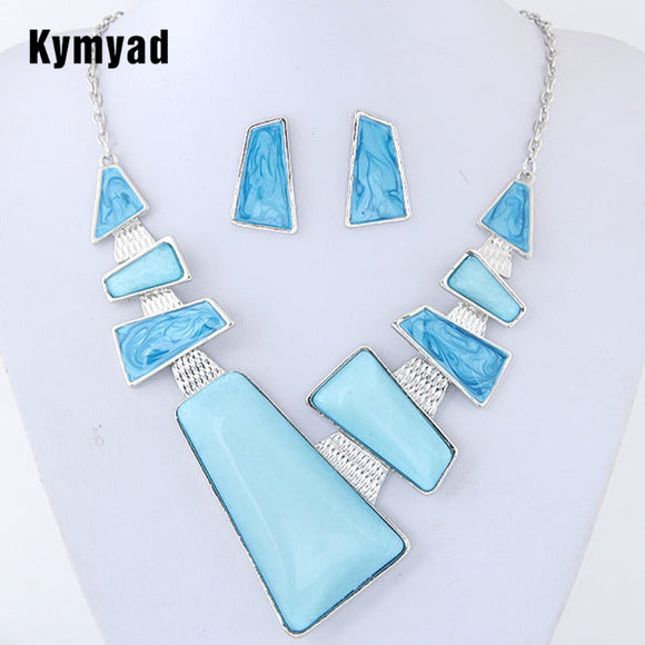 Kymyad Resin Jewelry Sets For Women Set Turkish Jewelry Bijoux New Geometric Pendant Jewelry Set Party Dress Accessory
