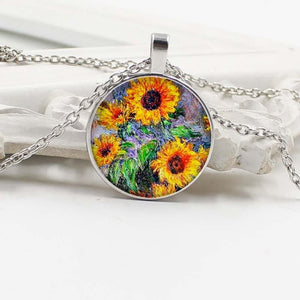 New fashion sunflower glass pendant necklace girl jewelry gift wholesale