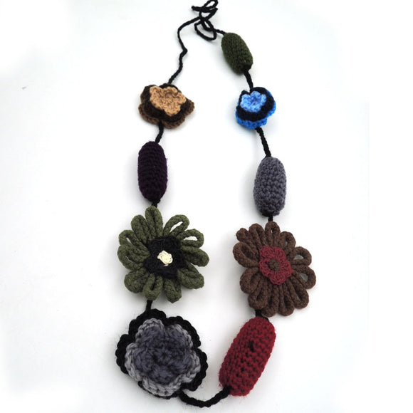 Clearance Sale Blue Blossom crochet flower nursing necklace, Late Autumn soft light necklace handmade jewelry NW1963