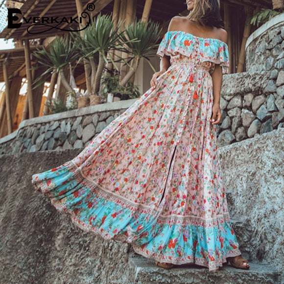 Everkaki Off The Shoulder Dresses For Women Bohemian Sleeveless Maxi Dress Women Floral Printed Long Dress Summer 2019 Autumn