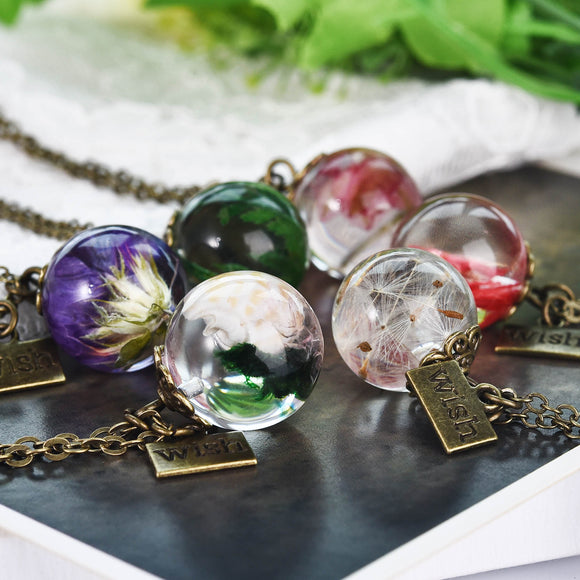 2019 New Valentine's Day Gift Real Dried Flowers Dandelions Resin Pendant Necklace Silver Bronze Fashion Women Jewelry Dropship