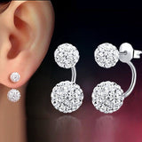 1 Pair Lady Women Rhinestone Silver Drop Earrings Double Beaded Crystal Full Rhinestone Ball Ear Buckle Earrings Jewelry