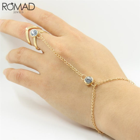 ROMAD Mode Glitter Rhinestone Hand Bracelet Women Slave Chain Finger Circle Link Bracelets Gold Charm Pendants Jewelry Indian R4