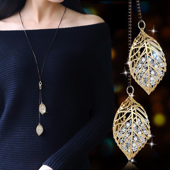 2019 Autumn Winter Fashion Women Girl Rhinestone Crystal Leaf Pendant Leather Chain Necklace Long Sweater Jewelry Gift