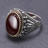 Real 925 Sterling Silver Mens Rings With Tiger Eye Natural Stones Big Vintage Rings In Fijne Sieraden Turkish Turkey Jewelry