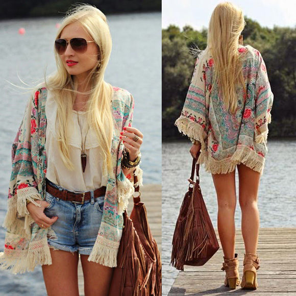 Fashion Women Fringed Tassel Shawl Cape Loose Batwing Sleeve Tops Shirt Beach Cover Up Clothes