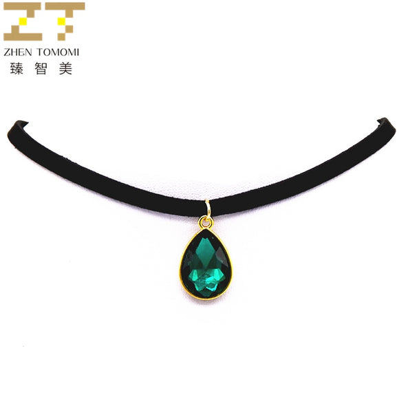 2019 Hot Fashion Torques Bijoux Pure Black Velvet Leather Water Drop Pendant Maxi Statement Chokers Necklace For Women Jewelry