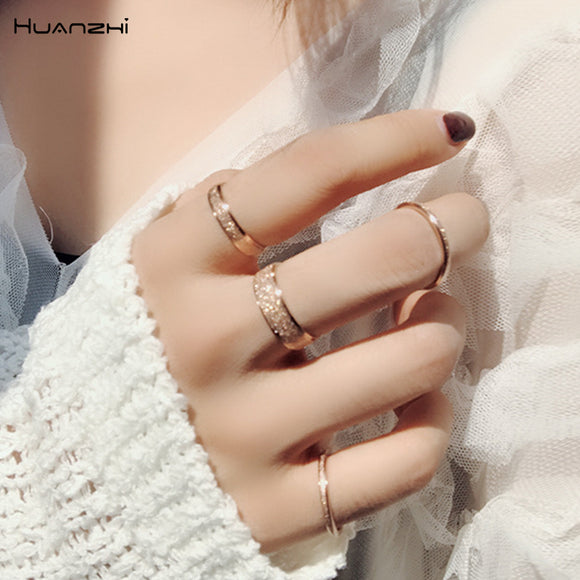 HUANZHI 2019 New Japan Titanium Steel Rose Gold Scrub Mirror Reflection Shining Ring for Women Party Accessories Sweet Jewelry