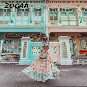 ZOGAA Bohemian Women Summer Long Dress Ladies Elegant Floral Print Ruffles Beach Evening Party Night Plus Size Vestidos 2019
