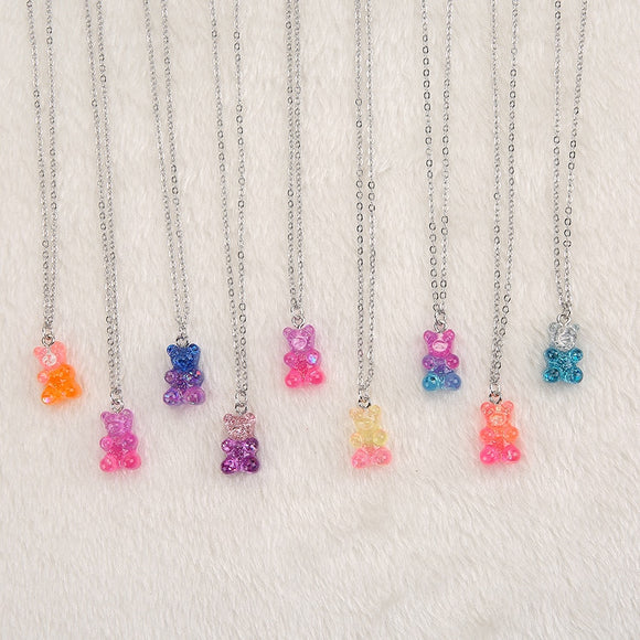 1pc Cute Multicolor Resin gummy bear necklace for children Birthday Gift Woman Jewelry