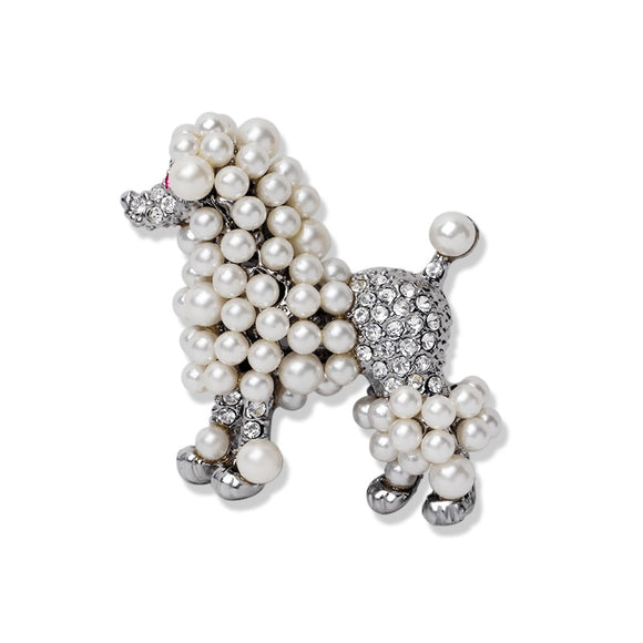 Ajojewel Handmade New Poodle Dog Brooch For Women Fashion Simulated-pearl Banquet Insect Party Jewelry