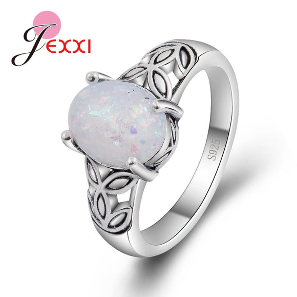 Genuine 925 Sterling Silver White Opal Fire Mystic Ring Jewelry With Leaves Design Best Gift For Women Finger Anel Bague