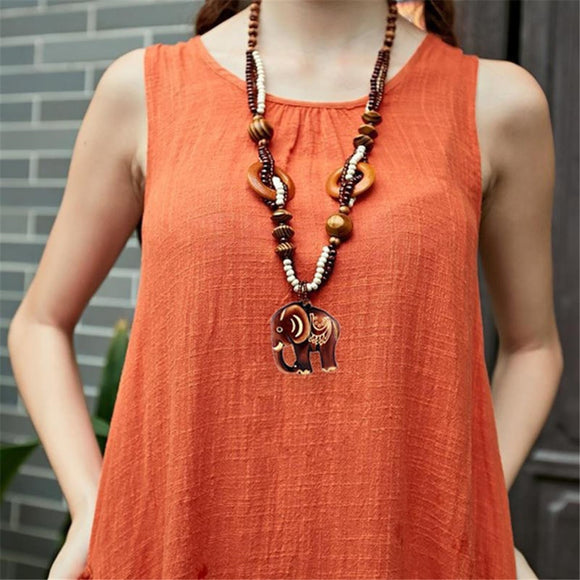 Boho Hand Made Jewelry Sweater Chain Ethnic Style Long Bead Wood Elephant Pendant Necklace Women Price Decent KUNIU Shirt Chain