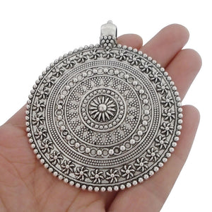 3 x Antique Silver Bohemia Boho Tribal Big Large Round Medallion Flower Pendants for Necklace Jewelry Making Findings 76x64mm
