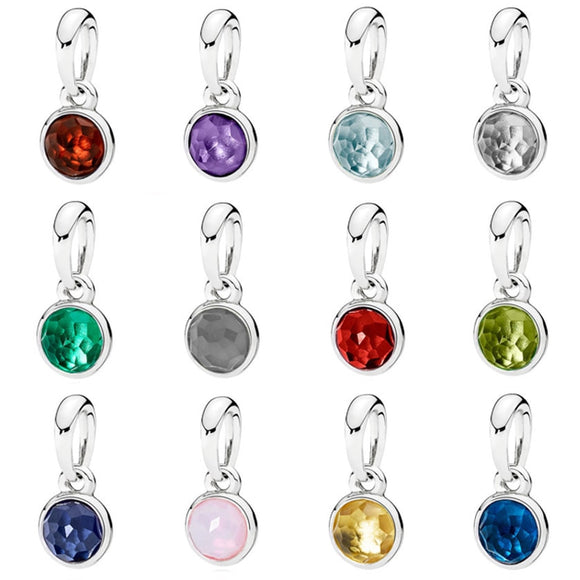 Month Droplet Birthstone With Crystal Necklace Pendant Charm Fit Pandora Bracelet 925 Sterling Silver Bead Charm Jewelry
