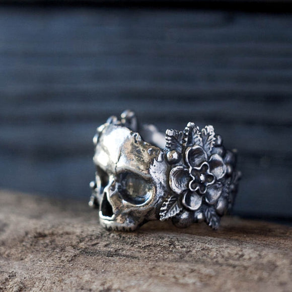 EYHIMD Gothic Mexican Flower Sugar Skull Rings Women Silver Stainless Steel Punk Flowers Ring Jewelry