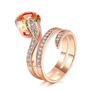 Top Quality R149 Snake Show Bead Ring Rose Gold Color Austrian Orange Crystals Full Sizes Rings for Women HotSale