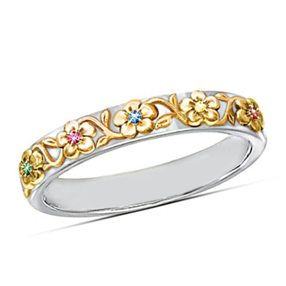 Huitan 2019 Romantic Plant Women Ring Band With Colorful CZ Stone Setting Flower Elegant Trendy Anniversary Gift For Women