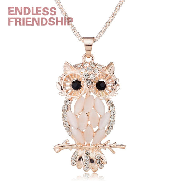 Stylish Charming Sparkling Owl Crystal Necklaces & Pendants Necklace for Women Wedding Jewelry Accessories