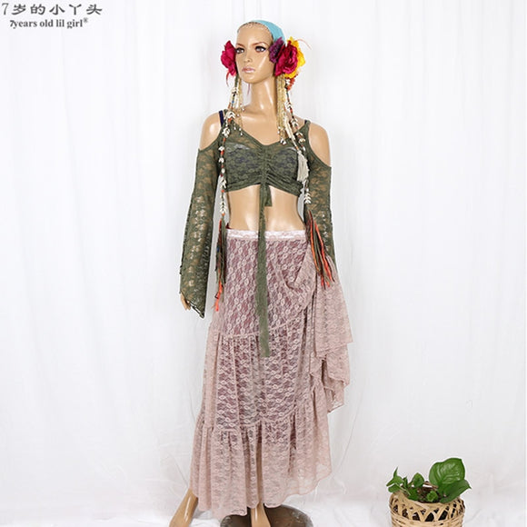 2019 ATS Gothic Tribal Belly Dance Clothing Lace Tank Top Choli Tops Off Shoulder Long Sleeves Gypsy Dance COO01