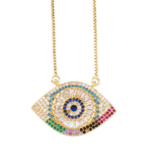 luxury rainbow women initial colorful zircon necklace pendant choker gold shell crystal necklace heart eye flowers jewelry gift
