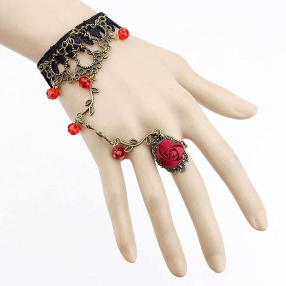 vintage fashion Gothic Jewelry Women Lace Flower Hand Slave Chain Ring Harness Gift New
