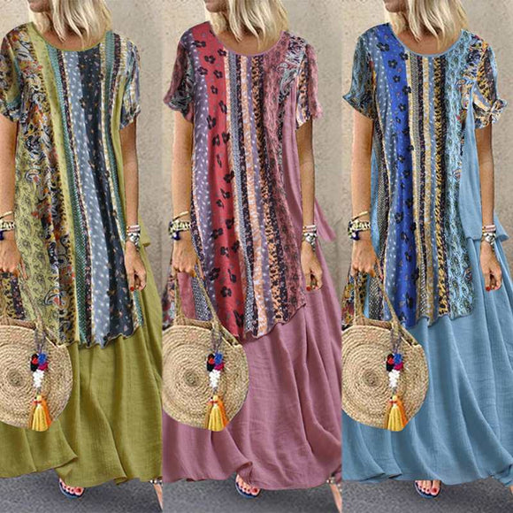 Vintage Print Two Fake Long Maxi Women Dress Bohemian Vestidos Ladies Party Beach Summmer Sundress Female Long Shirts Vestido