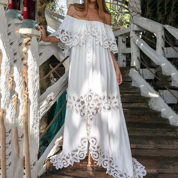 Women Bohemian Lace Maxi Dress One Shoulder Casual Asymmetrical Dress Female Elegant Chic Vacation Holiday Long Dress