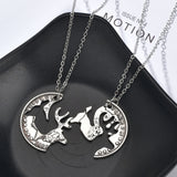 Romantic Couple Heart Clock Key Pendant Necklace For Women Ture  Love Two Detachable Necklaces Choker Silver Chain Necklace