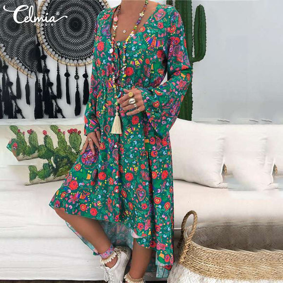 2019 Celmia Bohemian Floral Print Dress Women Long Sleeve Asymmetrical Long Shirt Dress Casual Loose Pleated Vestidos Robe S-5XL