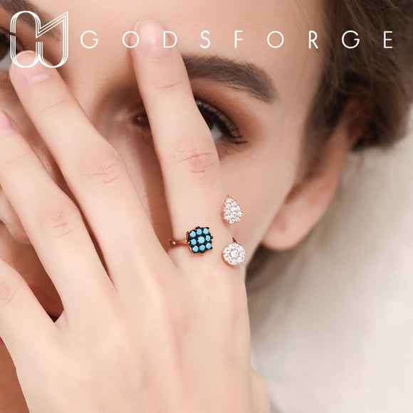 100% 925 sterling silver original design turquoise zircon black ring adjustable 2 colors for women fashion jewelry personality