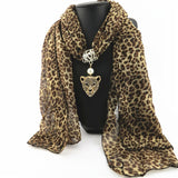 Ahmed Autumn and Winter Fashion Rhinestone Leopard Head Pendant Leopard Scarf Necklace For Women New Neckerchief Scarves Jewelry