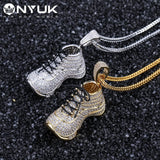 NYUK Stainless Steel Necklace Copper Shoe Pendant For Men Women Gold Silver Color Zircon Fashion Hip Hop Rock Bling Jewelry Gift