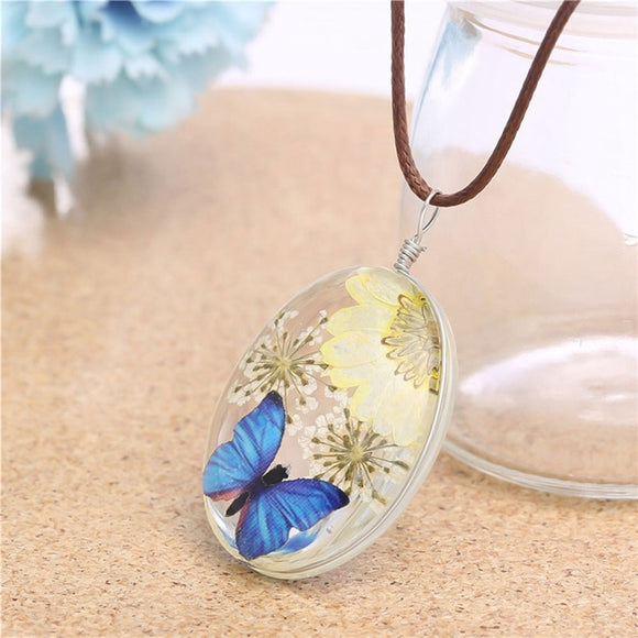 Fashion Real Dry Natural Dried Flower Butterfly Pendant Necklaces Glass Rope Chain For Women Boho Jewelry Sweater Accessories