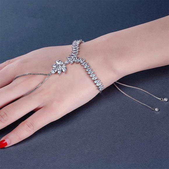 UILZ Trendy Marquise Cut Cubic Zircon Women Finger Chain Leaf Shape Adjust Slave Bracelet With White Color Gift For Party UB140