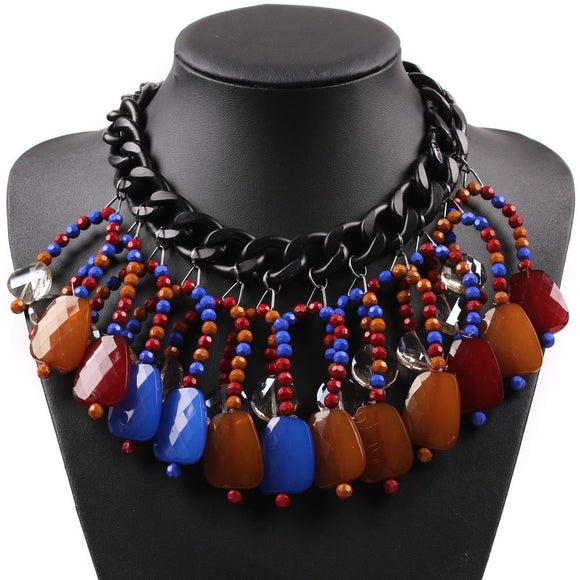 Statement Choker Autumn Jewelry 2019 New Latest Design Elegant Luxury Black Chain Bead Pendant Chunky Necklace Women
