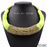 2019 New Model Fashion Autumn Popular Jewelry Neon Rope Chain Rhinestone Chunky Choker Necklace For Girls 5 Colors