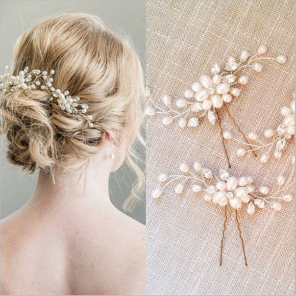 1 pc Wedding Hairpins Bridal Pearl Flower Crystal Hair Pins Bridesmaid Gift Hairdressing metal women girl hair Accessories