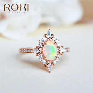 ROXI Vintage Fire Opal Rings for Women Magic Mirror CZ Finger Ring Micro Pave Rhinestone Zircon Rings Wedding Engagement Jewelry