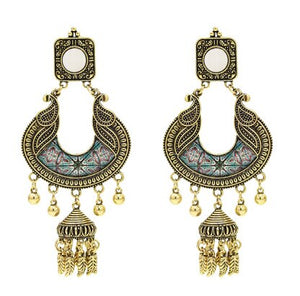 India traditional Gold kundan large oversized big jhumka Wedding Earrings With Mirror Afghan Tribal Ethnic BOHO Oxidized Jewelry