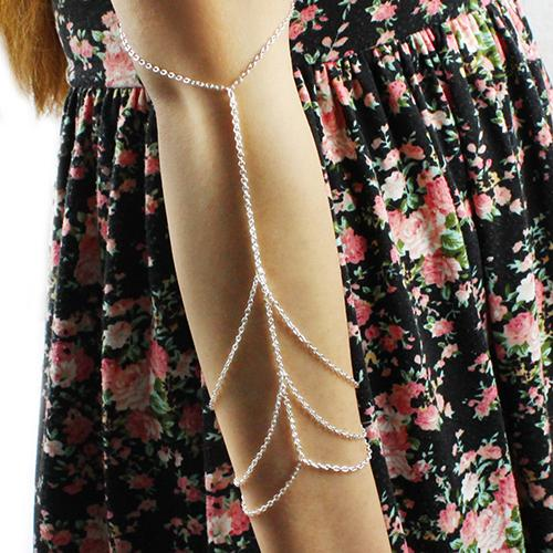 New Sliver Golden Arm Slave Chain Upper Armband Cuff Harness Armlet Bracelet 64RR